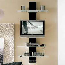 modern wall mount flat screen tv stand with frosted glass ladder