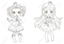 fairy tale princesses coloring book outline royalty free