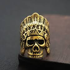 metal skeleton ring holder images Indian chief skull ring gold stainless steel rings native american jpg