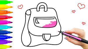 bag drawing for kids coloring pages with colored markers