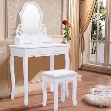Wood Vanity Table Costway White Vanity Jewelry Wooden Makeup Dressing Table Set