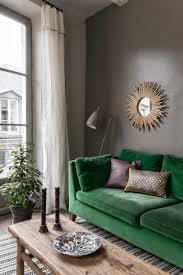 Interior Green A Velvet Green Sofa Before A Dark Wall Interiordecor Pinterest