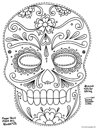 simple sugar skull hd big size coloring pages printable