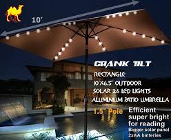 Patio Umbrella With Lights by Amazon Com Strong Camel 10 U0027x6 5 U0027 Outdoor Solar 26 Led Lights