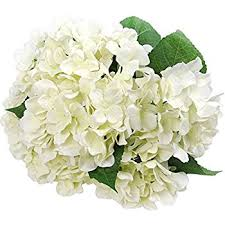 hydrangea bouquet 1 artificial silk 22 white hydrangea bush w 7 mop