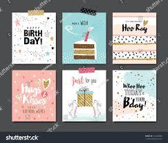 set birthday greeting cards design stock vector 552436600