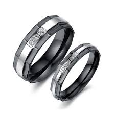 black zirconia rings images And silver stainless steel with cubic zirconia couple rings jpg