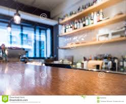 table top counter with kitchen shelf cafe bar background stock
