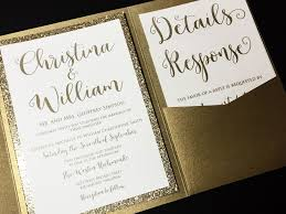 gold wedding invitations this listing is for a sle of a layered pocketfold wedding