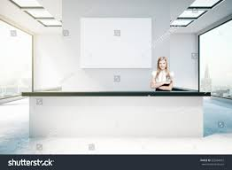 Modern Reception Desks by Young Woman Modern Reception Desk Empty Stock Illustration