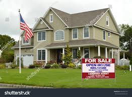 American Flag House Royalty Free American Flag Pole Real Estate For Sale U2026 349464779