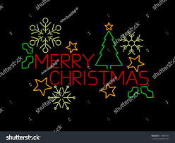 neon merry christmas sign stars tree stock vector 119895619