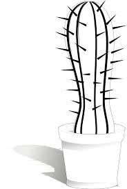 cactus 17 black white line flower art coloring sheet colouring