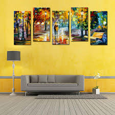 buy cheap paintings for big save 5 panel lover rain street tree buy cheap paintings for big save 5 panel lover rain street tree lamp landscape oil painting prints on canvas wall art wall pictures for living room home
