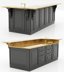 colonial kitchen island 3d model cgtrader throughout kitchen