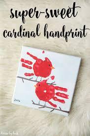 cardinal handprint gift cardinals gift and house
