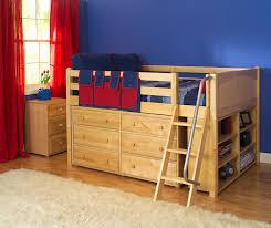 Bunk Beds With Dresser Underneath Maxtrix Low Loft Bed W Built In Dresser Bookcase