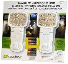 capstone wireless motion sensor light 2 pk capstone led wireless motion sensor light 2 pack white amazon com