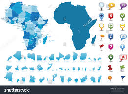 Africa Labeled Map by Africahighly Detailed Map Elements Separated Editable Stock Vector
