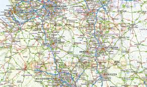 Liverpool England Map by Central England County Road And Rail Map 1 000 000 Scale In