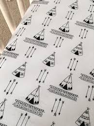 teepees crib sheet tribal nursery black and white crib sheet