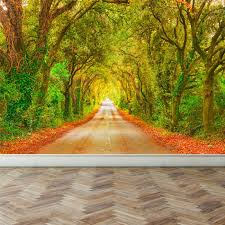 wall mural straight road with trees peel and stick repositionable