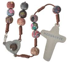 medjugorje rosary medjugorje rosary in multicoloured fimo brown cord online sales