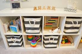 Ikea Kallax Shelving by Ikea Kallax Shelving Unit With Charcoal Gray Rugby Stripe Bins