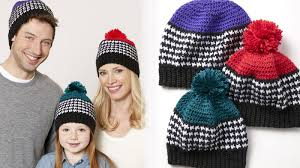crochet houndstooth hats for the family tutorial the crochet crowd