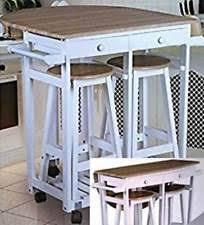 White Breakfast Bar Table White Stool And Bar Set Ebay