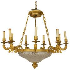 French Empire Chandelier Lighting Late 19th C French Empire Style Gilt Bronze And Crystal