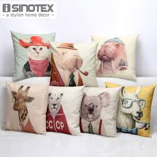 mr animal printed vintage cushion 45 45cm linen cushions home