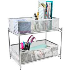 Wicker Desk Organizer by 2 Tier Organizer Baskets With Mesh Sliding Drawers Sorbus