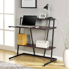 Plank Desk Amazing Compact Computer Desk With Wooden Plank Shelf And Black