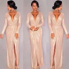 2016 new rose gold long sleeve sequins deep v neck slit prom