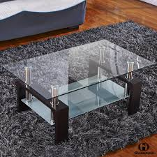 Wood Living Room Table Sets Amazon Com Virrea Rectangular Glass Coffee Table Shelf Wood