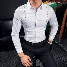 bureau social 2017 automne hommes blanc de luxe style avec rivet tenues mâle
