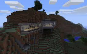 minecraft building ideas modern house built into the mountain