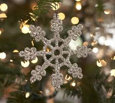 german glitter snowflake ornaments set of 6 pottery barn