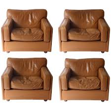 Poltrona Bergere Frau by Set Of Three Club Chairs In Brown Honey Color Made By Poltrona