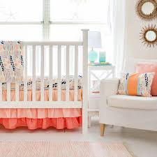 peach crib rail cover bedding set peach floral baby bedding