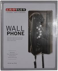 cortelco wall mount phone amazon com crosley cr55 bk wall phone with push button