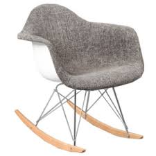 Eames Inspired Rocking Chair Charles Eames Style Rocking Chair Upholstered Half Fabric