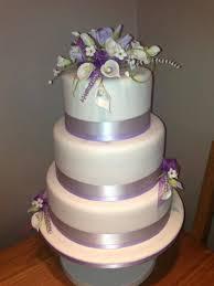 lilac and white 3 tier wedding cake cakecentral com