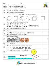 First Grade Math Worksheets Free First Grade Mental Math Worksheets