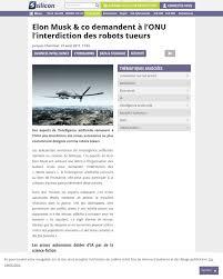 si e des nations unies elon musk co demandent à l onu l interdiction des robots tueurs
