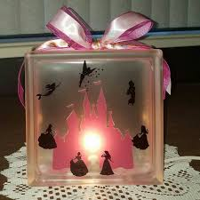 disney princess silhouette lighted glass block nightlight and