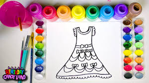 learn colors and hand color watercolor beautiful dress coloring