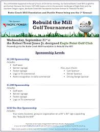 rebuild the mill golf tournament sponsorships butte creek mill