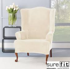 furniture intriguing cream wing chair slipcover by sure fit